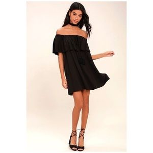 Lulus Black Off Shoulder Dress With Flutter Sleeve